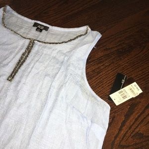 New W/tags AGB xl blue sheer sleeveless blouse